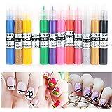 Tinksky Suggerimenti per 12 colori UV Gel acrilico 3D Nail Art fai da te pittura polacca Pen Set