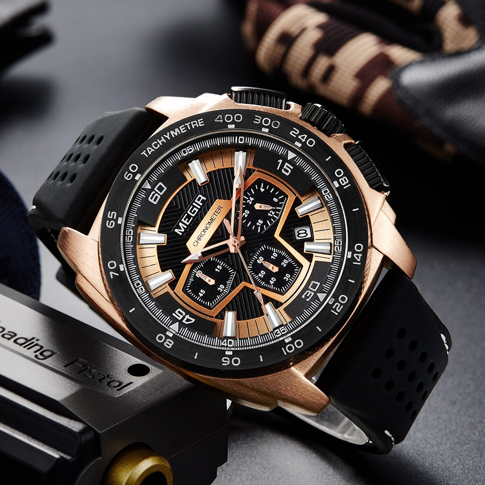 Amazon.com: Megir Mens Sport Chronograph Quartz Watches Silicone Band Army Military 24 Hours Wristwatch for Man 2056 Rose Gold: Watches