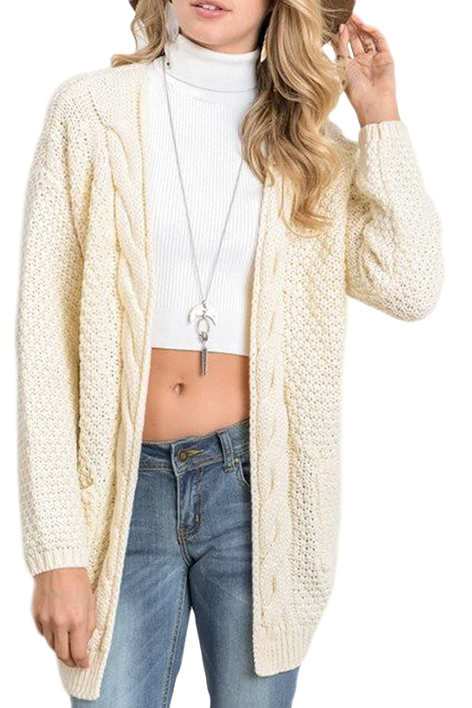 e31f6f7e12126 Vemubapis Women Monocolor Loose Cardigan Knit Sweater Longline Coat:  Amazon.co.uk: Clothing