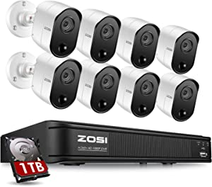 ZOSI 1080p 8 Channel Security Camera System for Home, H.265+ CCTV DVR with Hard Drive 1TB and 8 x 2MP Surveillance Bullet Camera Outdoor Indoor with PIR Motion Sensor,Day Night Vision,Remote Access
