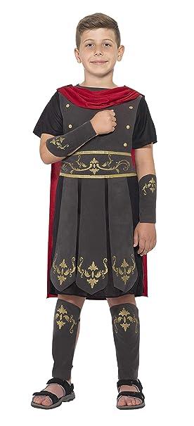 SmiffyS 45477L Disfraz De Soldado Romano Con Túnica Capa Incorporada Y Muñequeras, Negro, L - Edad 10-12 Años