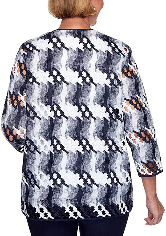 Alfred Dunner Womens Lattice Two-for-one Top