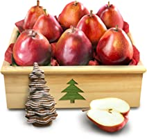 Golden State Fruit Red Comice Pear Holiday Gift Crate with Handmade Solid Chocolate Christmas Tree