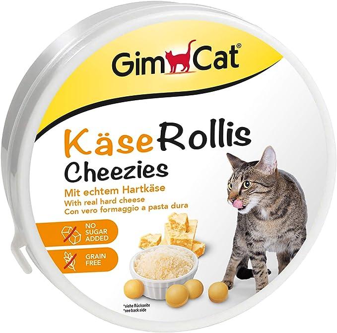 GimCat Rollis, comprimidos de queso – Snack para gatos rico en vitaminas con auténtico queso duro – Sin azúcar añadido ni cereales – 1 lata (1 x 200 g): Amazon.es: Productos para mascotas