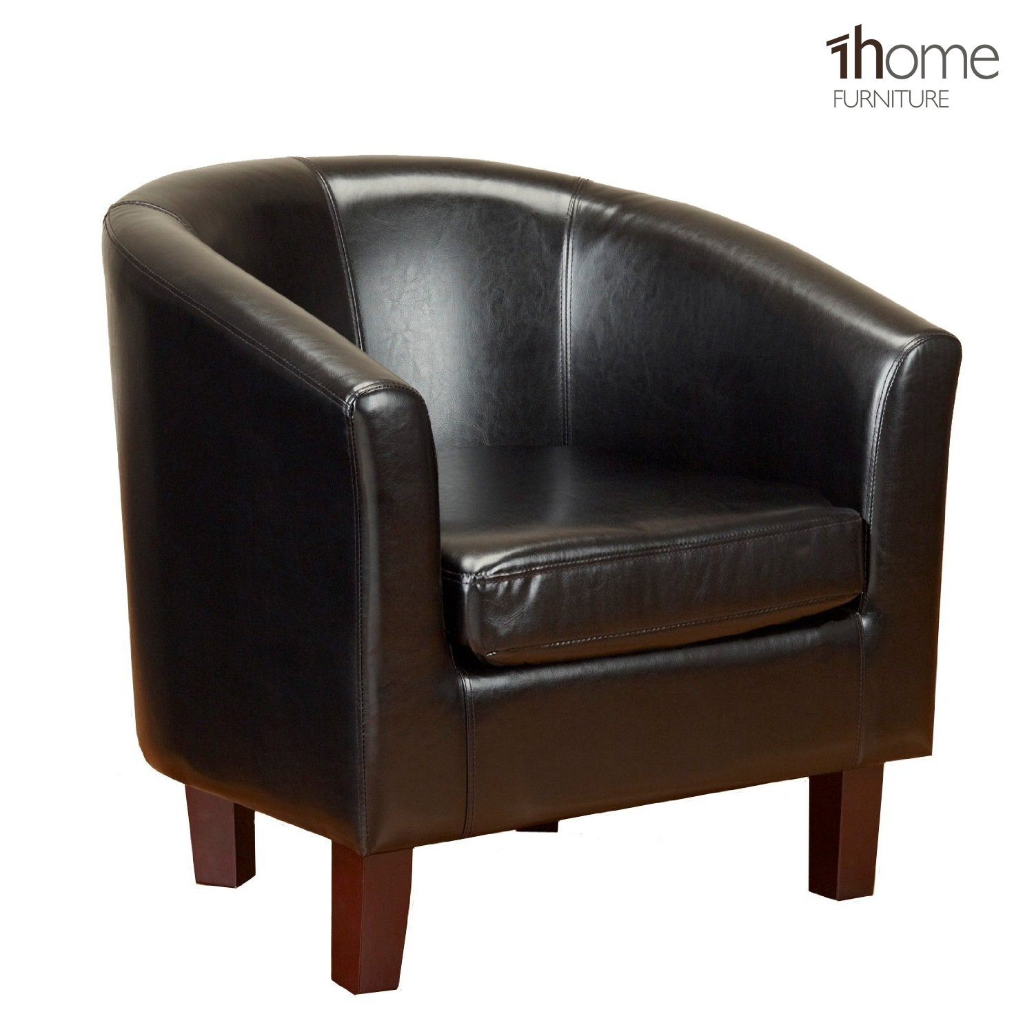 1home Bonded Leather Tub Chair Dining Living Room Office Reception (Black):  Amazon.co.uk: Kitchen U0026 Home