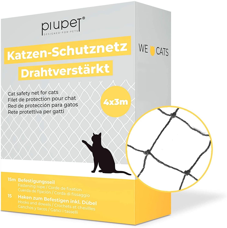 PiuPet® - Red para Gatos Reforzada con Alambre, para balcón y Ventana, Incluye Set de fijación, Red para Balcones para Gatos, Color Negro (4 x 3 m)