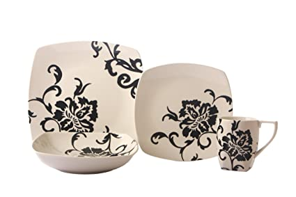 Coventry Floral Scroll Black 16-Piece Dinnerware Set Service for 4 Black  sc 1 st  Amazon.com & Amazon.com | Coventry Floral Scroll Black 16-Piece Dinnerware Set ...