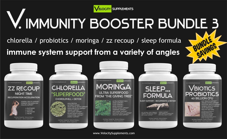 V.Immunity Immune Booster Bundle Kit 3 - ZZ RECOUP - Chlorella - Moringa - Sleep Formula - VBIOTICS Probiotics