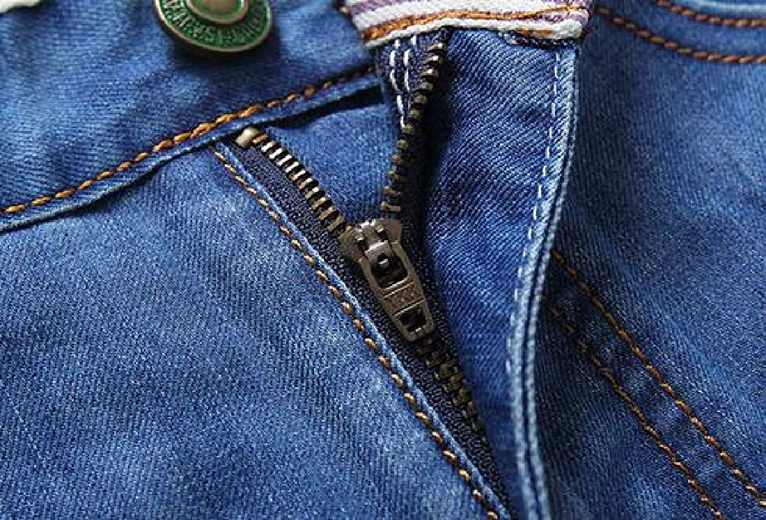 Fensajomon Mens Slim Summer Washed Casual Business Straight Leg Denim Shorts Jeans