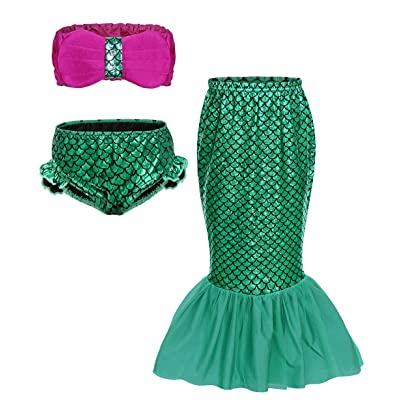 HenzWorld Mermaid Costume Dress Up Princess Romper Birthday Pool Party Holiday Swimsuit Little Kids Outfits Fish Scale: Clothing