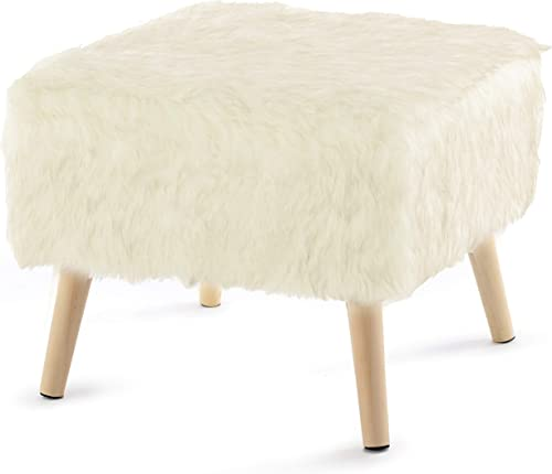 Cheer Collection 17″ Square Ottoman | Super Soft Decorative Off White Faux Fur Foot Stool