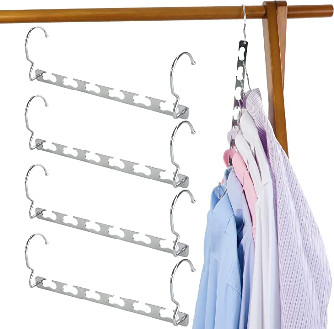 TOPIA HANGER 2 Pack Multiple Metal Hanger in One with Anti-Slip Foam Padded Rack,Multi Layers Space Saving Clothes Hanger,Dechatable Closet Organizer for Tank Top Shirt,Sweater,Coat Black CT25B