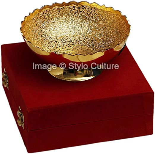 Amazon Com Stylo Culture Traditional Gold Decorative Bowl Gold Plated Brass Peacock Round Decorative Gold Bowl Home Kitchen
