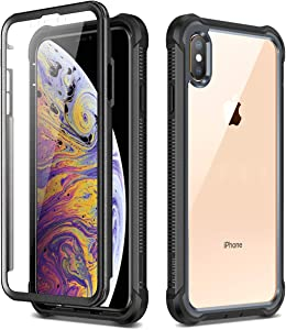 """Dexnor iPhone Xs Max Case with Screen Protector Clear Rugged 360 Full Body Protective Shockproof Hard Back Defender Dual Layer Heavy Duty Bumper Cover Case for iPhone Xs Max 6.5"""" - Black"""