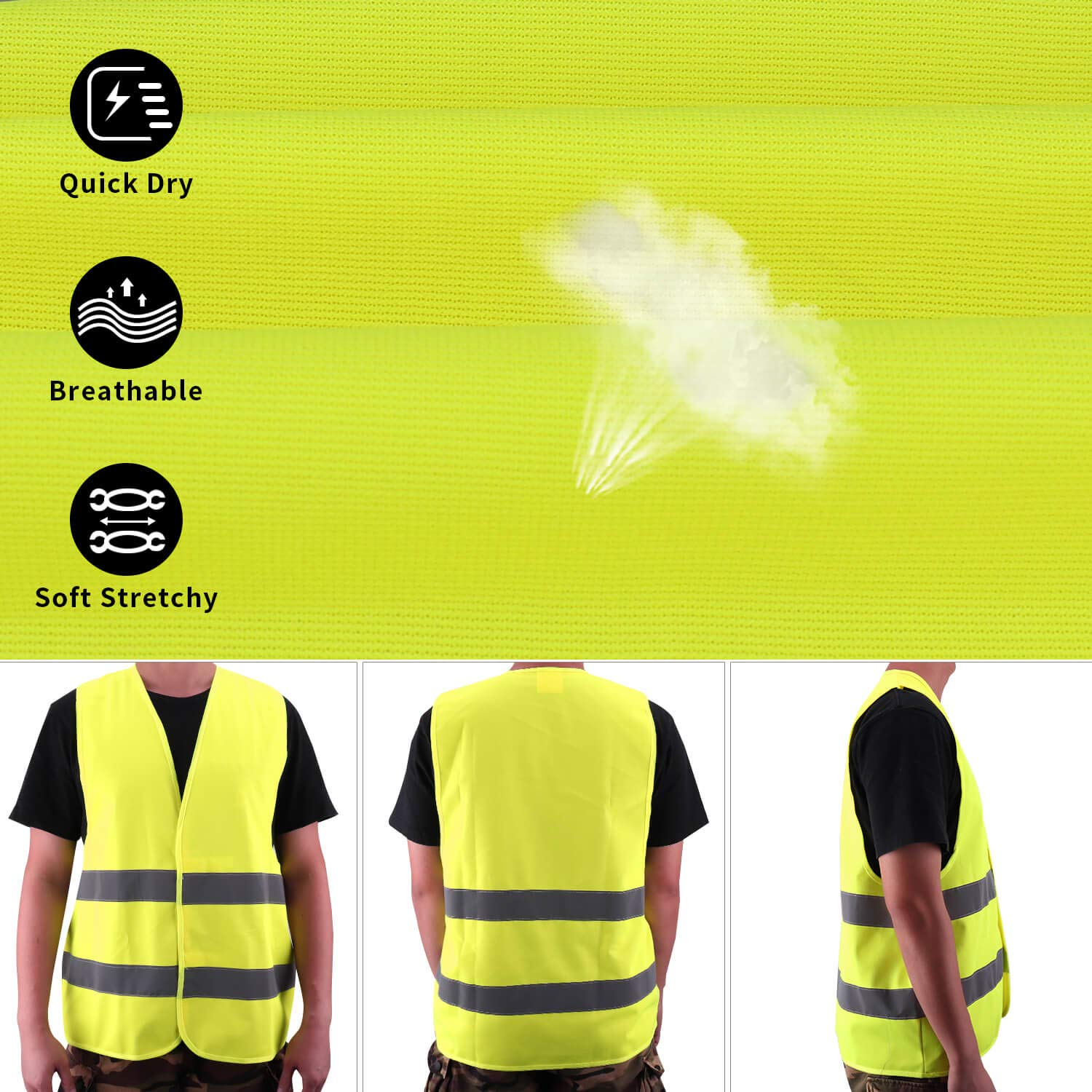 Reflective Safety Vest Breakdown Aid 121cm, 139cm Pack of 4 Polyester Neon Yellow Washable Ensuring the Safety of Drivers and Workers with High Risk Fesoar High Visibility Vest