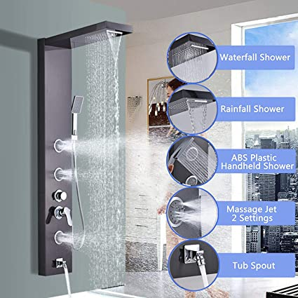 Pannello doccia suguword Set in acciaio inox ugelli per massaggio 5/in 1/Multi Funzione System Indicatore LED doccia doccetta doccia a pioggia in acciaio inox