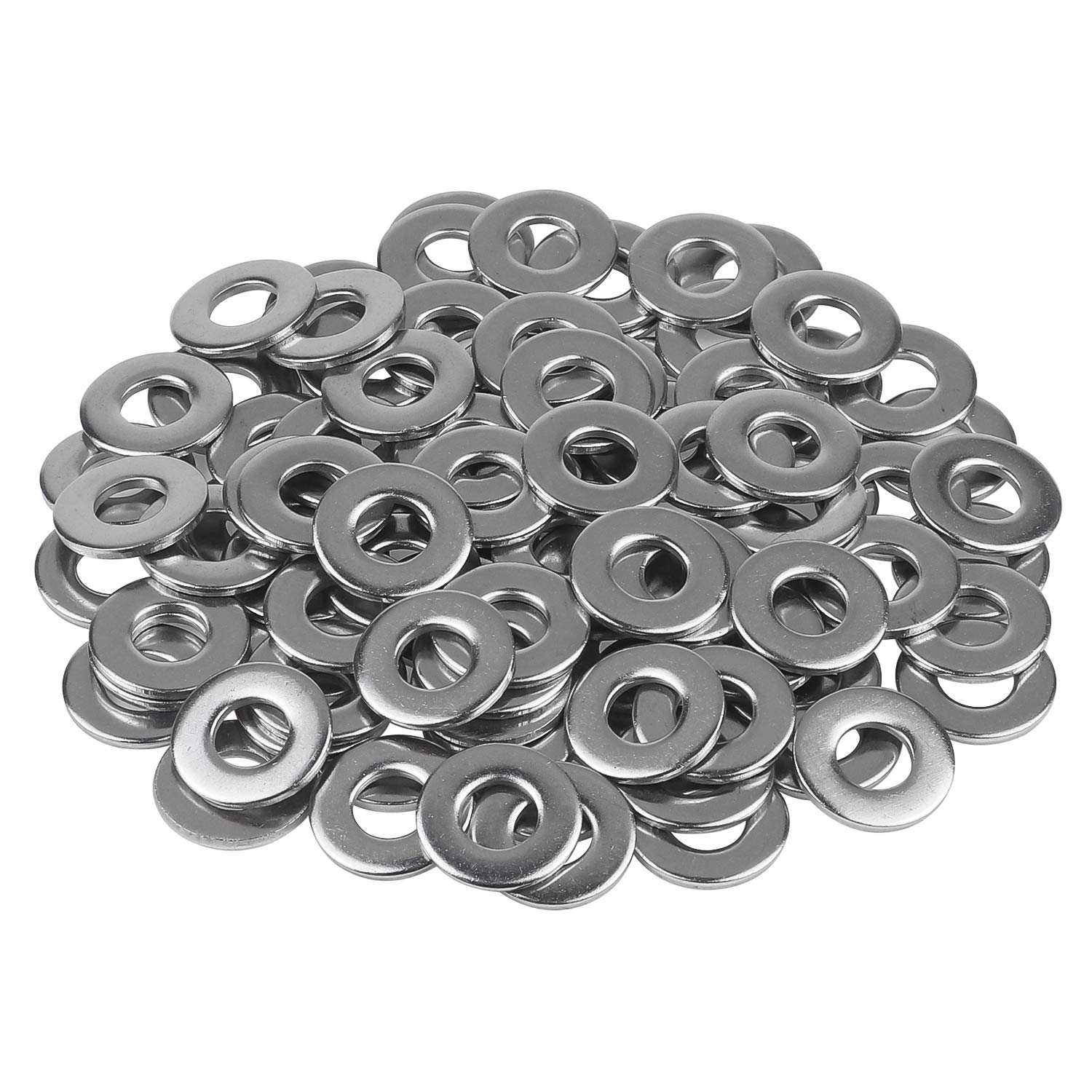 Favordrory 1/4 Inch Stainless Flat Washer, 5/8 Inch Outside Diameter, 304 Stainless Steel, 100 Pieces