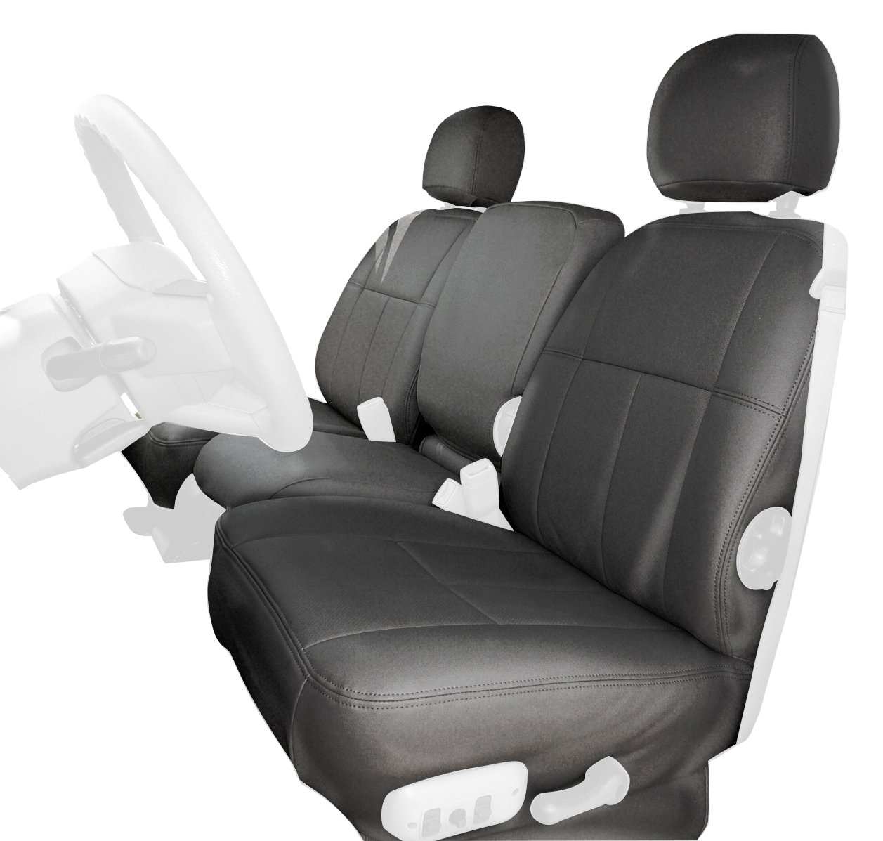 Clazzio 753041lgy Light Grey Leather Front Row Seat Cover for Chevrolet Tahoe//Suburban