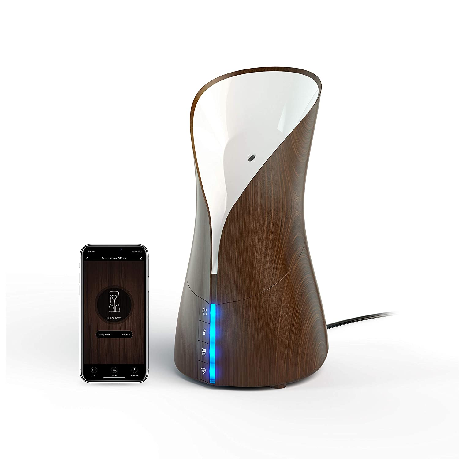 Atomi Smart Aromatherapy Diffuser - 250ml Essential Oil Diffuser, Cool Mist Humidifier, WiFi-Compatible with Alexa, Google Assistant, iOS, Android, and the Atomi Smart App, Dark Wood Grain