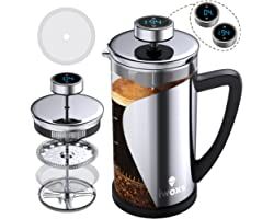 French Press Coffee Maker 34 oz, Stainless Steel Coffee Press with Temperature Display, Timer Reminder, Easy to Clean Glass F