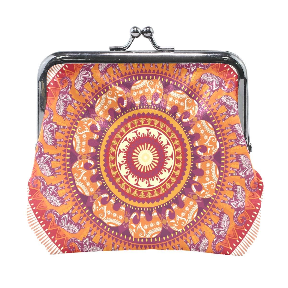 Women Wallet Purse Art Round Elephants Pattern Clutch Bag Leather