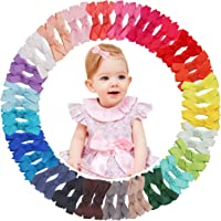 50PCS Baby Hair Clips for Fine Hair 2Inch Tiny Grosgrain Ribbon Hair Bows Alligator Hair Clips Fully Lined Hair Accessories for Infants Toddlers Kids Children