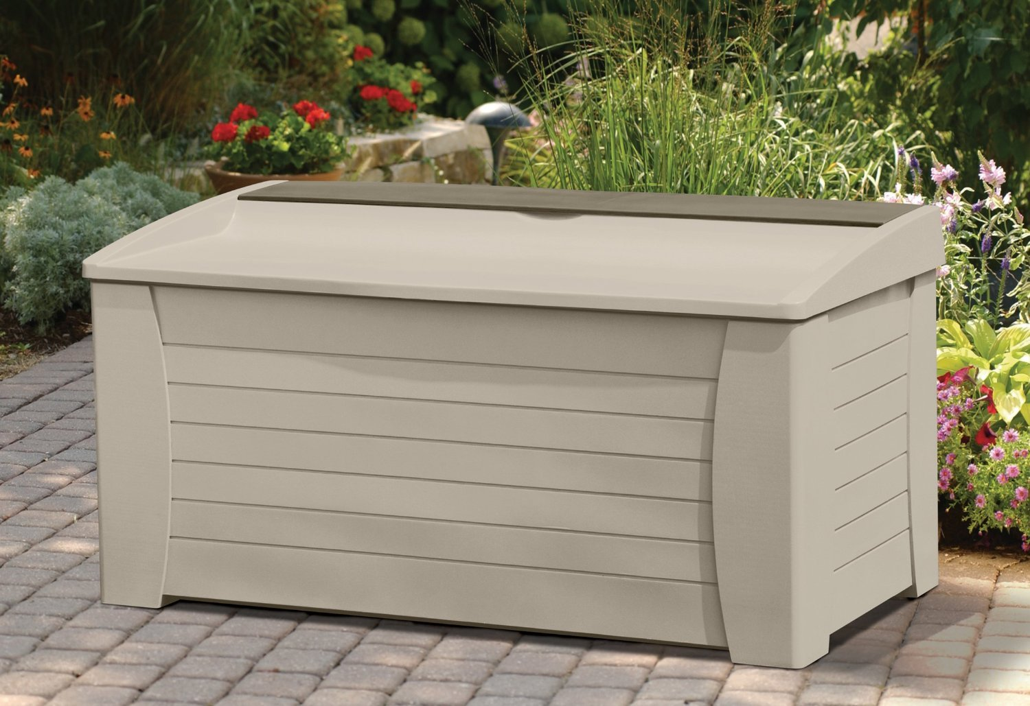 Gorgeous Water Weather Resistant Solid Resin Plastic Indoor Outdoor 127-Gallon Storage Deck Box- Beautiful Earthtone Light Taupe Color Lightweight Portable Durable- Seats Three Deep Storage Bin Tray by Sun Burst
