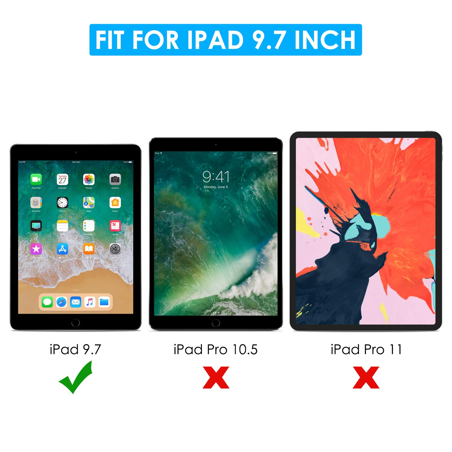 apiker Tempered Glass Screen Protector Compatible with Apple Pencil // iPad Pro 9.7 Screen Protector for iPad 9.7 2018 /& 2017 3 Pack