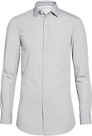 next Slim Fit Camisa para hombre, fácil de limpiar gris X ...