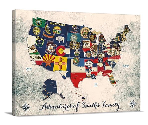 Amazoncom US Map Push Pin Wall Art Canvas Print Personalized