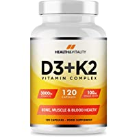 Vitamin D3 3,000 IU & Vitamin K2 100ug (MK7) - Vitamin D3 K2-120 Vegetarian Capsules - UK Made Premium Quality - Vitamin D Supplement - Bone, Muscle, Blood & Immune Support for Men & Women