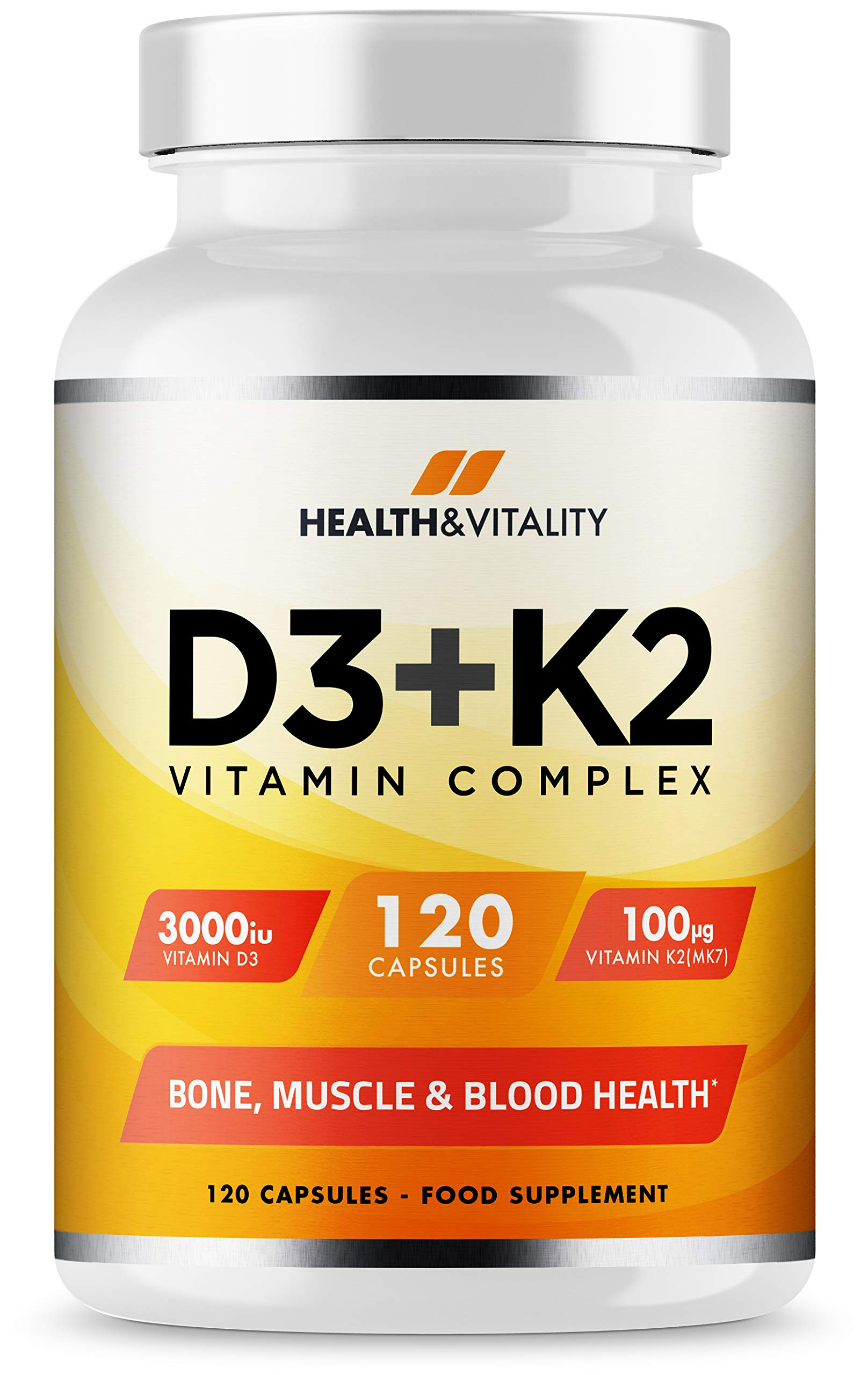 Vitamin D3 3,000 IU & Vitamin K2 100ug (MK7) - Vitamin D3 K2-120 Vegetarian Capsules - UK Made Premium Quality - Vitamin D Supplement - Bone, Muscle, Blood & Immune Support for Men & Women product image