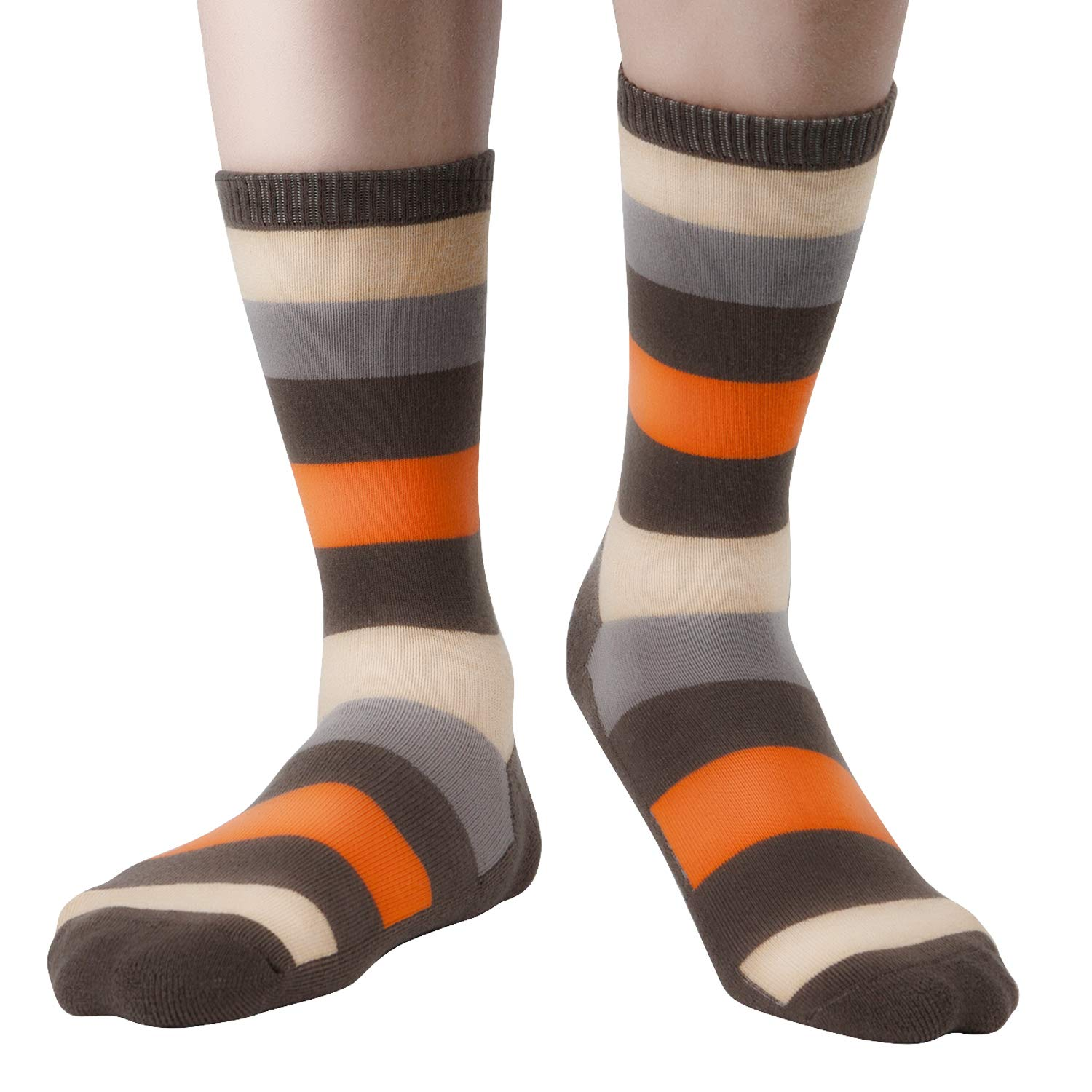 +MD 6 Pack Uomo Fun Novelty Dress Socks Umidit/à Wicking Bamboo Crew Calzini a righe colorate con motivo argyle a righe