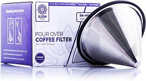 Pour Over Coffee Filter Metal Coffee Filter Paperless Stainless Steel Reusable Drip Cone for Chemex, Hario V60, Carafes and Drip Coffee Makers