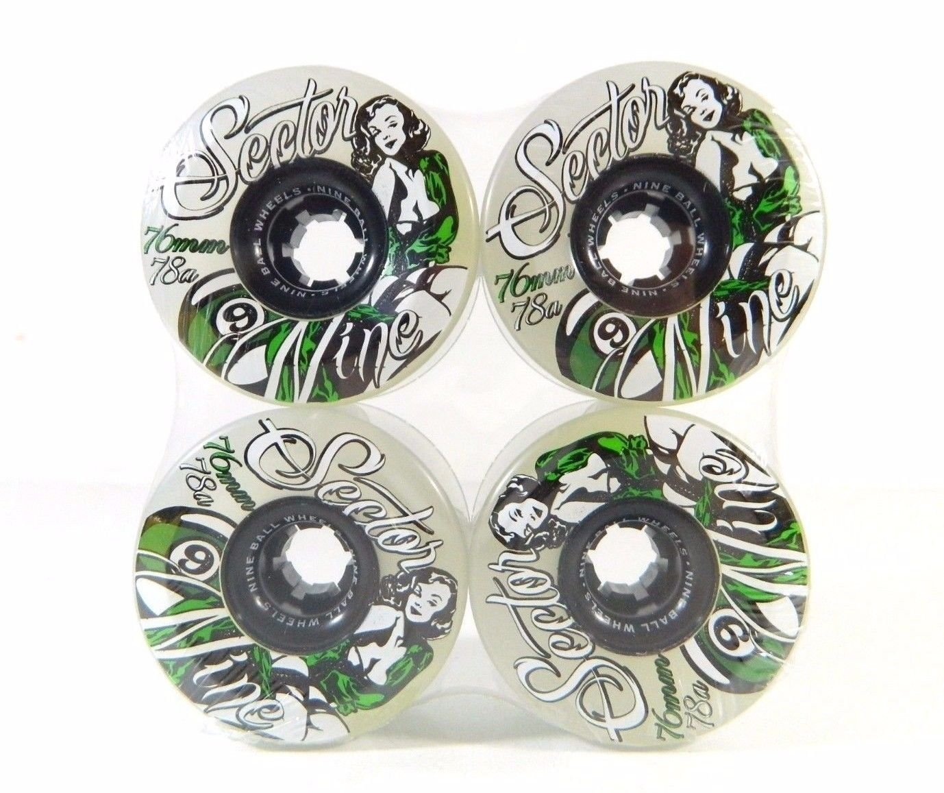 Sector 9 Goddess of Speed 76Mm 78A Longboard Wheels Ghost/Green