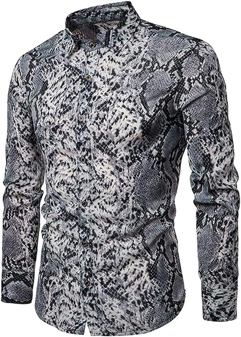 Domple Men Snakeskin Print Long Sleeve Plus Size Button Down Slim Fit Button Down Dress Work Shirt
