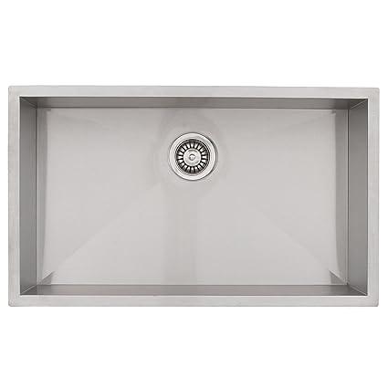 Phoenix 36u0026quot; Undermount 16 Gauge Stainless Steel Square Kitchen Sink  Zero Radius