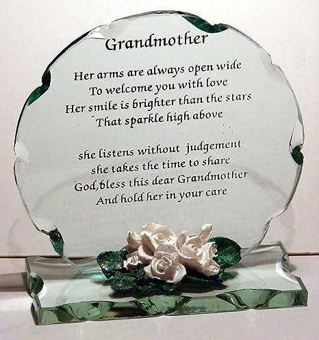 Verre En Cristal Grand Mère Poème Plaque Cadeau Parfait Pour