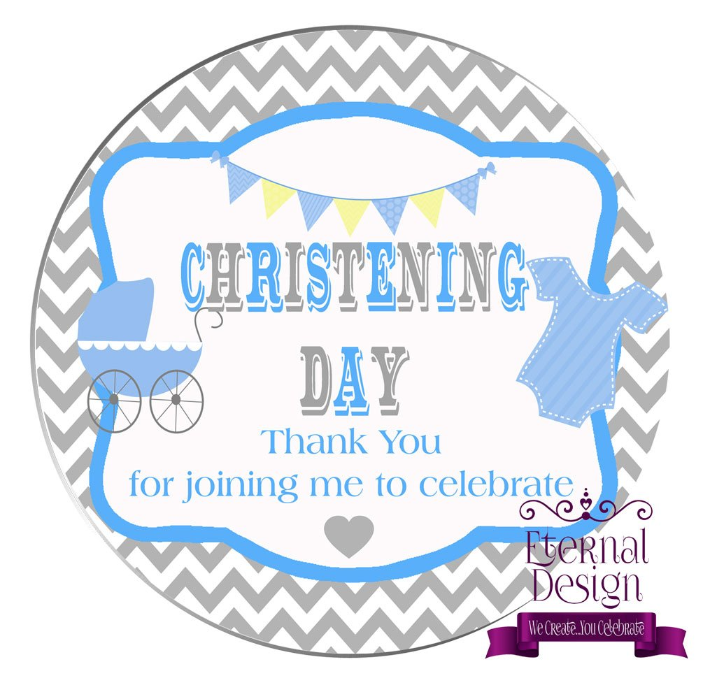 Eternal Design 48 x 30mm Christening Day White Stickers CDCS 2