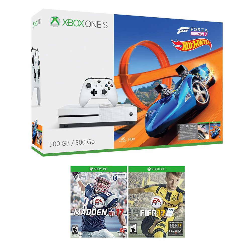 Xbox One Racing Sports Bundle (3 Items): Xbox One S 500GB Console with Forza Horizon 3 Hot Wheels, NFL 17, and FIFA 17 Games