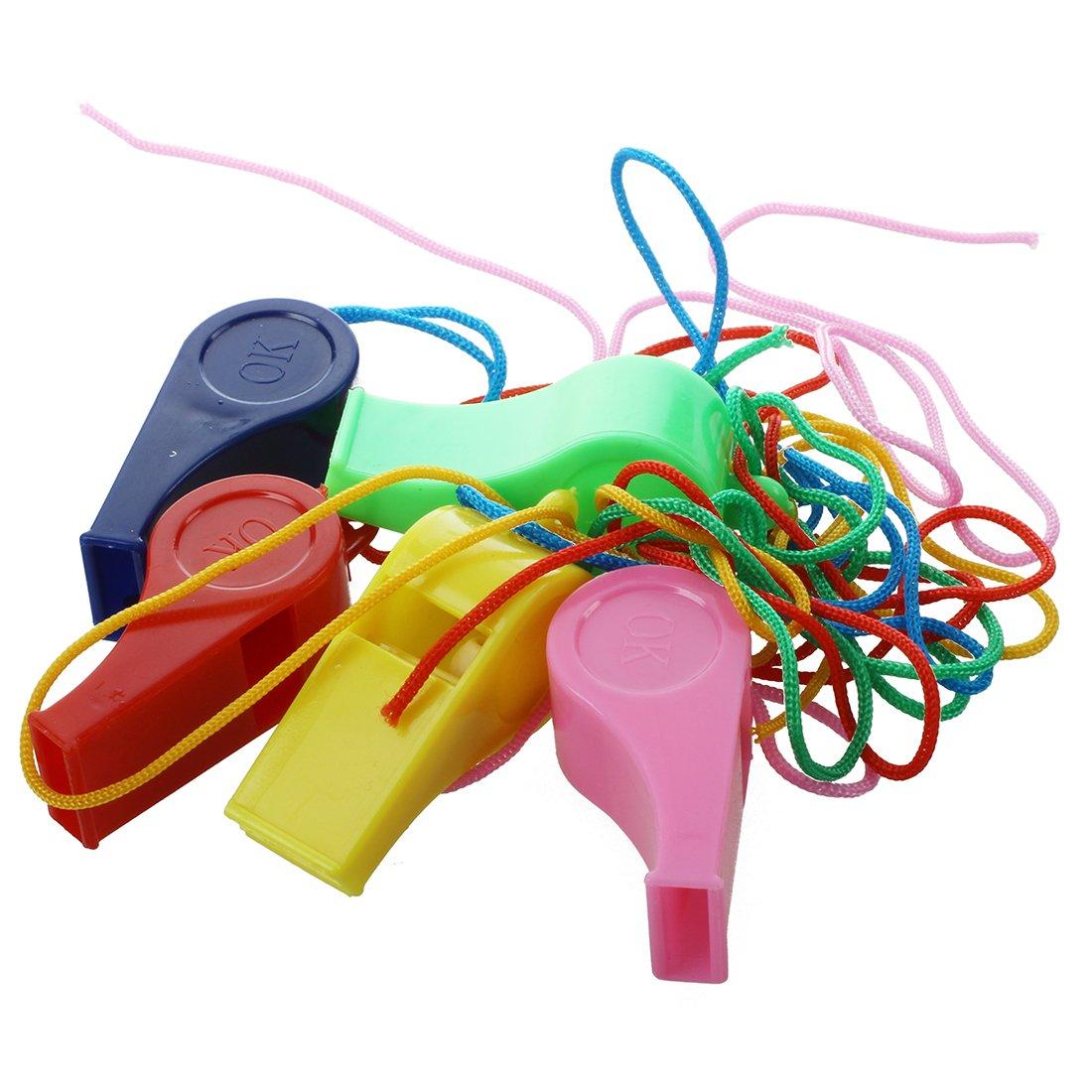 Sonline 5 x Silbato de Plastico Colores Surtidos con Cadena para Deportes Arbitro