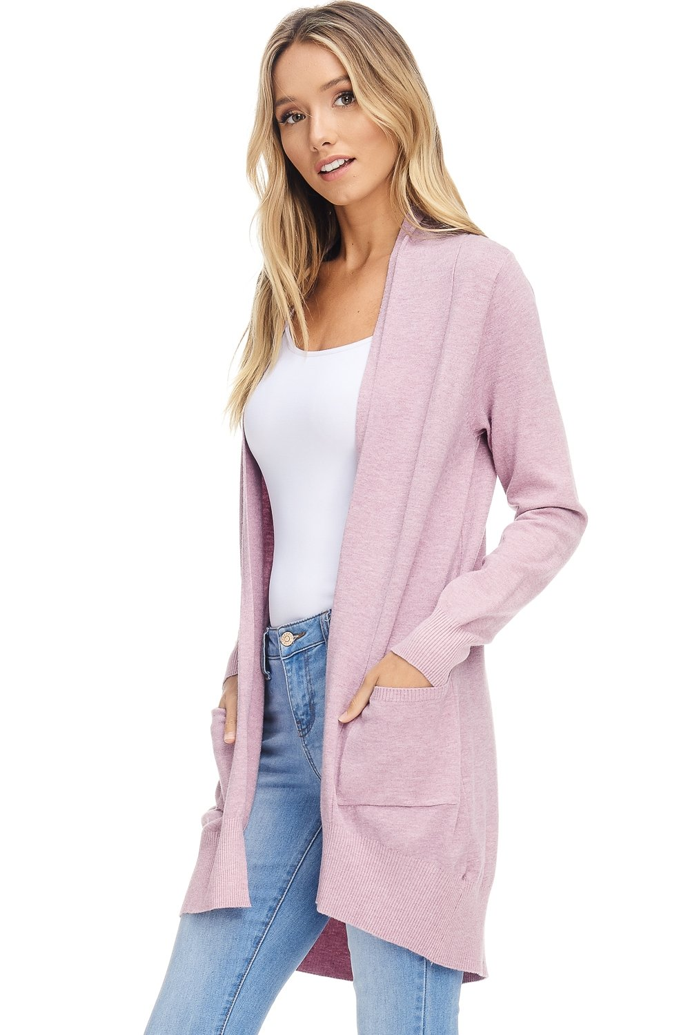AD Womens Basic Open Front Knit Cardigan Sweater Top W/Pockets (H. Lilac, Medium/Large)