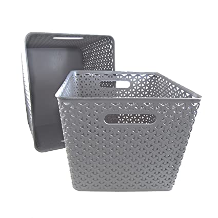 Basket Weave Plastic Storage Bin Set Of 2 (13.75 X 11 X 9, Gray