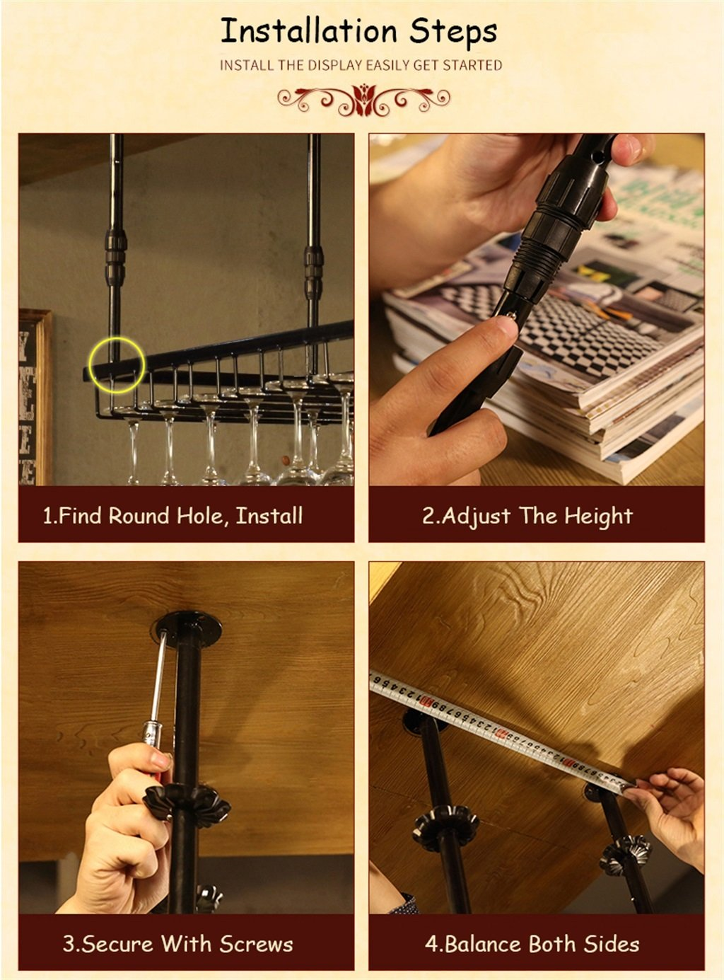 Yxsd Estantes para Vino Colgante Porta Botellas de Vino Metal Copa de Vino Estante Cerveza Stemware Racks Altura Ajustable Color : Negro, Tamaño : 80 * 35cm Utensilios de bar
