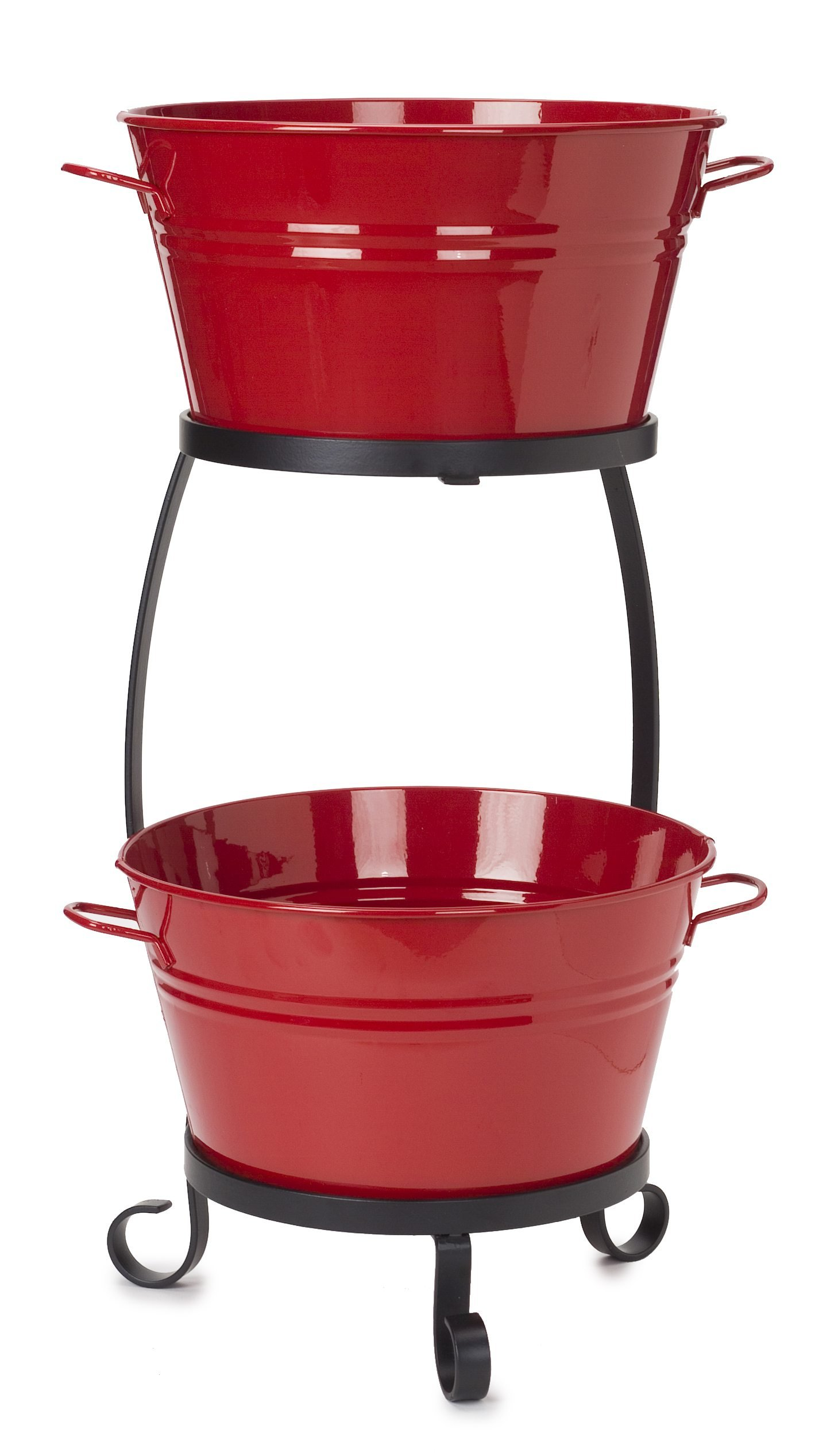 HIT 8020E XR Galvanized Heavy Gauge Steel Beverage Tub with Iron Stand, 13.5 by 30-Inch, Red