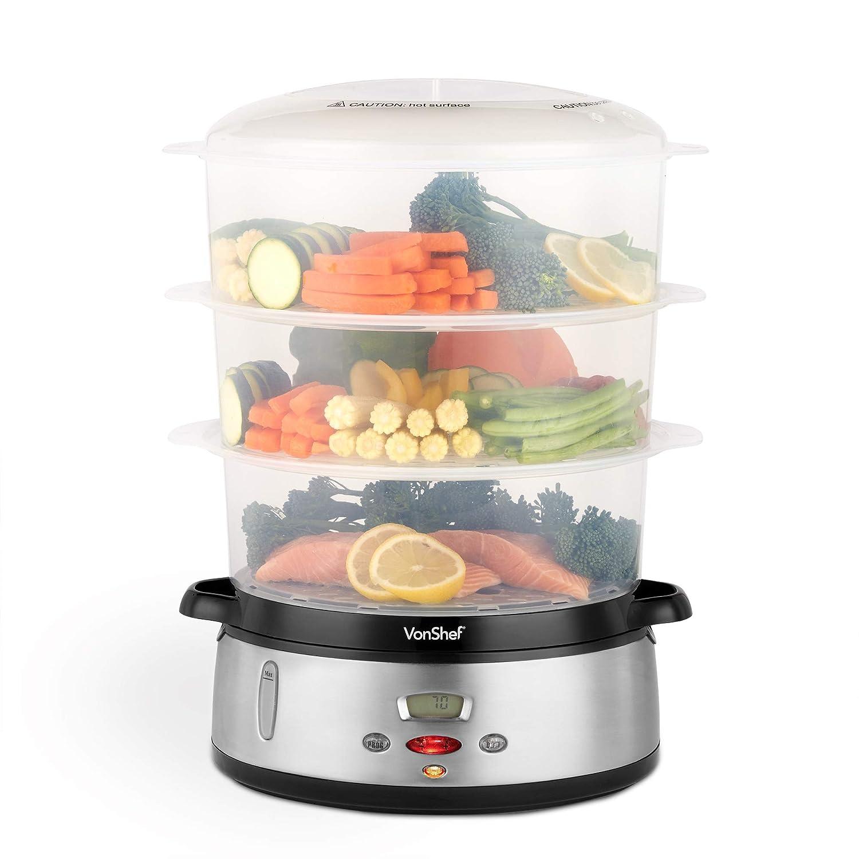 VonShef Vaporiera digitale su 3 strati da 800W – Vaporiera elettrica per pesce, carne e verdure – NON-BPA – Ciotola per riso inclusa carne e verdure - NON-BPA - Ciotola per riso inclusa