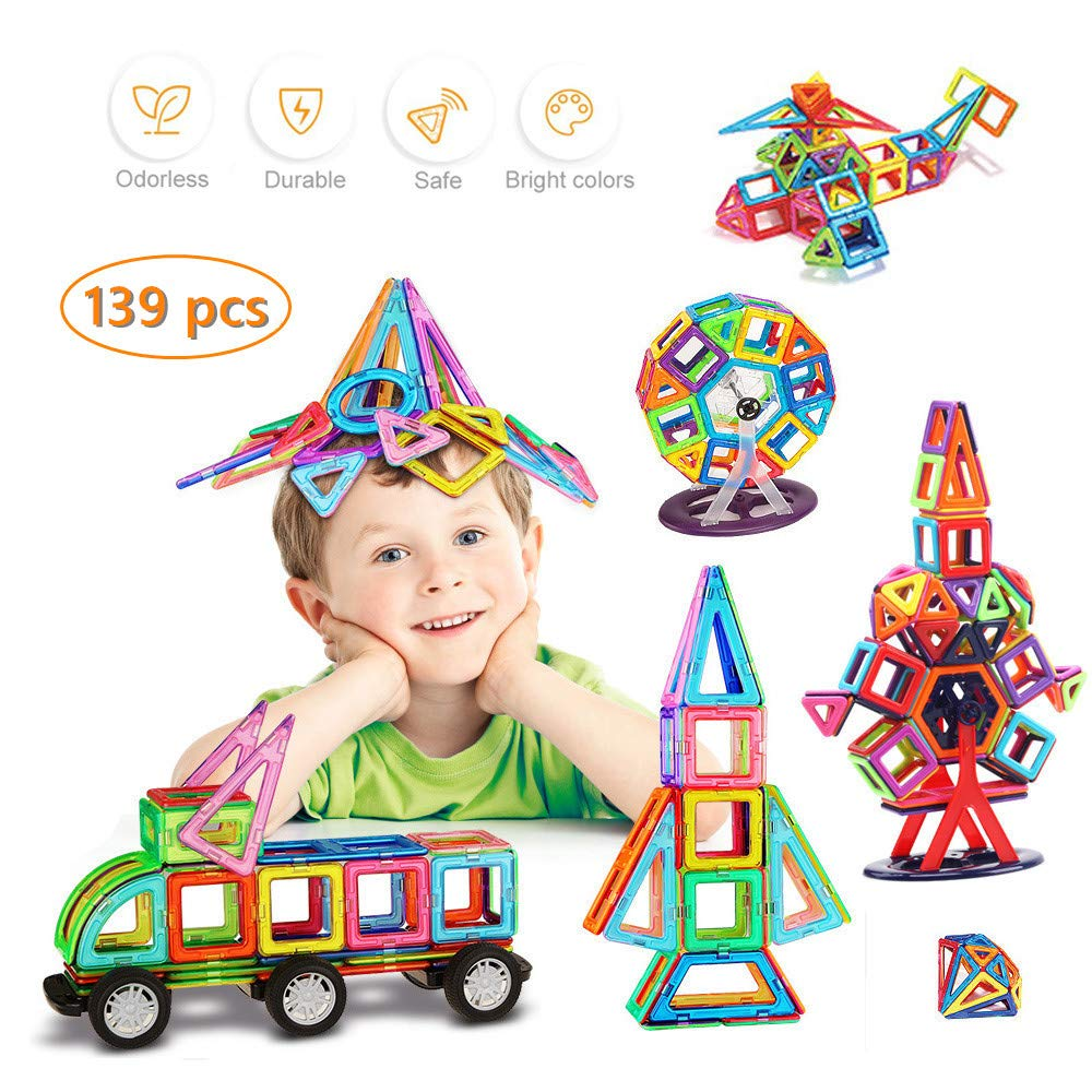 Uuna Magnet Tiles Building Blocks Toys - Strong Magnetic Stacking Blocks Toys - Creative Preschool Educational Construction Kit for Boys Girls Teen Kids Gifts with Case - 139 pcs