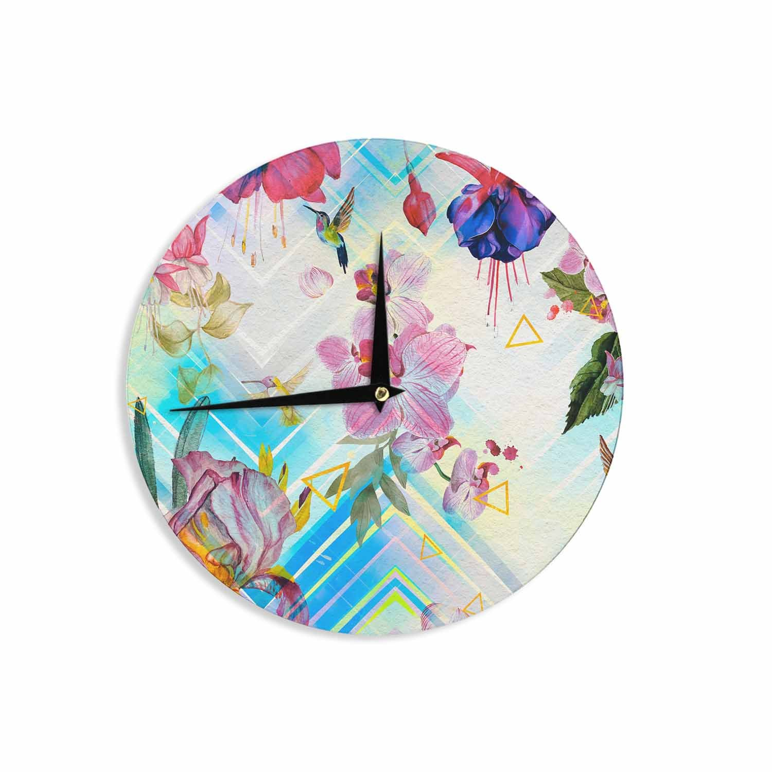 12 Wall Clock Kess InHouse Mmartabc Geometric with Tropical Nature Blue Multicolor Watercolor