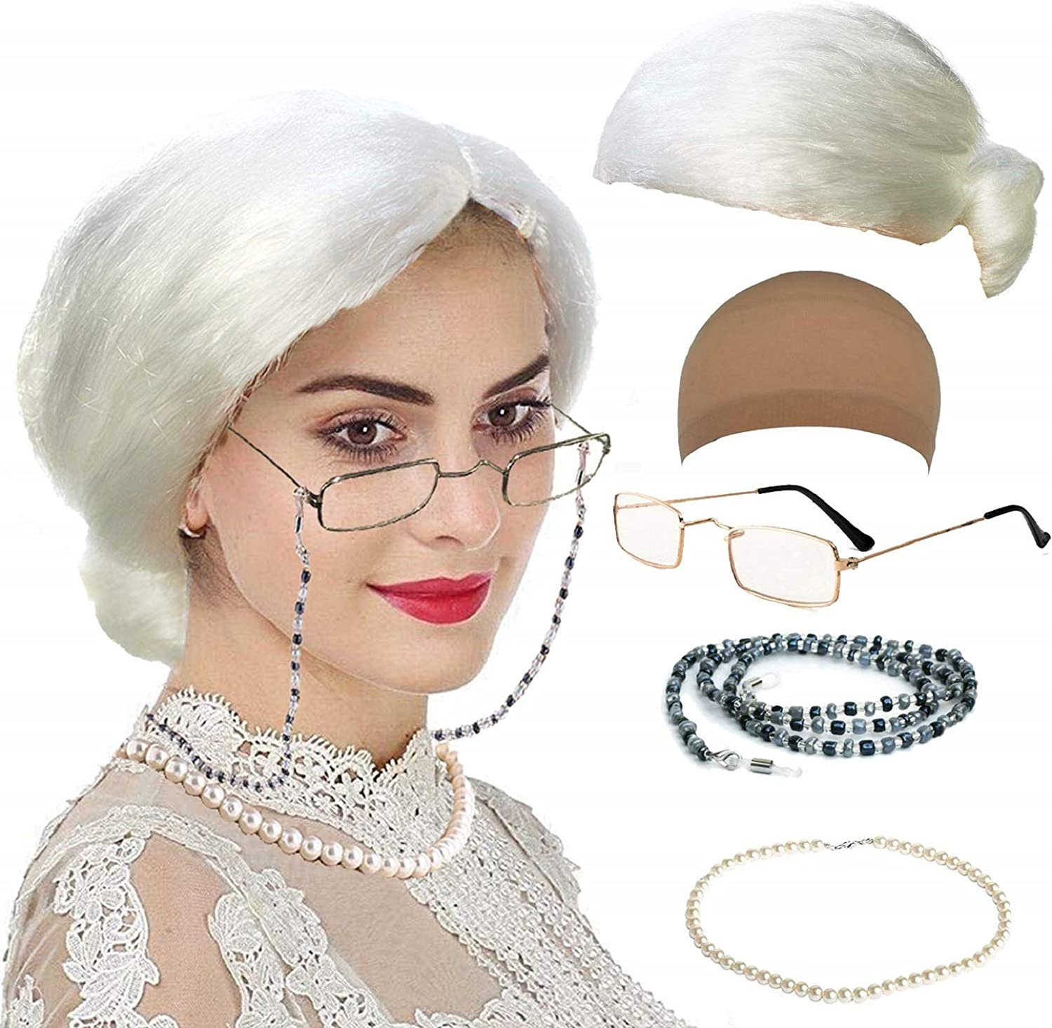 Old Lady Cosplay Set - Wig Cap, Granny Glasses, Eyeglass Chains, Pearl Beads