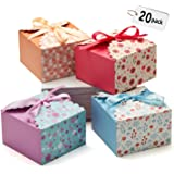 Hayley Cherie Gift Treat Boxes with Ribbons (20 Pack) for Cake, Cookies, Goodies, Candy, Party Christmas, Birthdays, Holidays, Weddings - 5.8 x 5.8 x 3.7 inches
